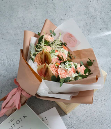 A Unique Sweet Blush and Peach Bouquet